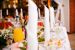 Table set for a wedding reception Royalty Free Stock Photo