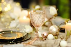 Table set for wedding reception or Christmas/New Year party royalty free stock images