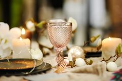 Table set for wedding reception or Christmas/New Year party stock image