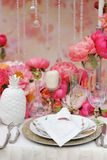 Table set for wedding reception Stock Image