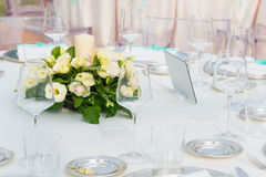 Table set for wedding reception Royalty Free Stock Photography