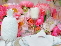 Table set for wedding reception Stock Photography