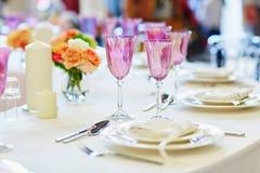 Table set for wedding reception Royalty Free Stock Photos