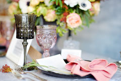 Table set for wedding reception Royalty Free Stock Images