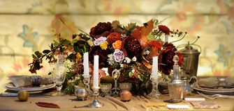 Table set for wedding reception or event party stock photos