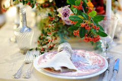 Table set for wedding reception Royalty Free Stock Image