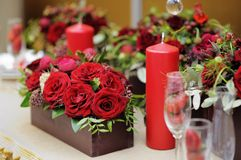 Table set for wedding reception Royalty Free Stock Photo