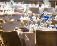 Table set at wedding reception Royalty Free Stock Photo