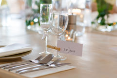 Table set in white for wedding or event party Stock Images