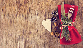 Table set with a winter, Christmas decoration Royalty Free Stock Photo