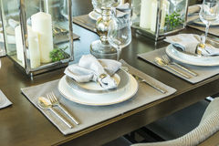 Table set on wood dinning table at home Royalty Free Stock Photography