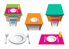 The table sets. The icons set of simply picture with plate, cup, knife and fork Stock Photo