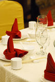 Table setting. With red napkins Stock Photos