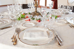 Table setting. Fine table setting in gourmet restaurant Royalty Free Stock Photo
