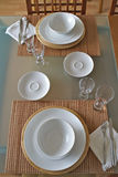 Table setting. For two at home at morning. Bowls on table are empty Royalty Free Stock Photography