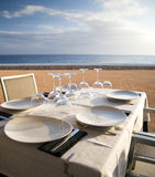 Table setting. At a coast restaurant in Menorca Stock Photography