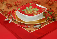 Table setting. Red and gold Royalty Free Stock Photo