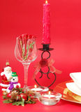 Table setting. Decorations and candles for christmas table Stock Image