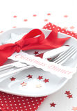 Table setting. For christmas with label and ribbon Royalty Free Stock Images