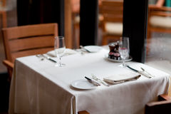 Table setting. Casual nice table setting in the restaraunt Royalty Free Stock Photography