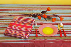 Table setting. Domestic home table setting with plate and utensils Royalty Free Stock Photography