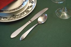 Table Setting. Dinner table settings Royalty Free Stock Photo