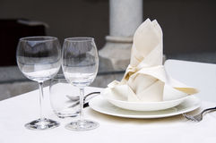 Table setting. Elegant table setting with wine glass royalty free stock photography