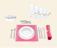 Table setting. Etiquette festive banquet table Stock Images