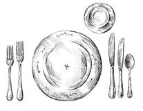 Table setting. In vector format royalty free illustration