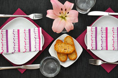 Table Setting. With flowers and bread Royalty Free Stock Photo