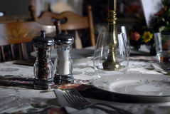 Table setting. With salt and pepper Royalty Free Stock Images