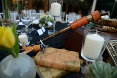 Table setting. With an airplain and books  for a  wedding in Bucharest Romania Royalty Free Stock Photo