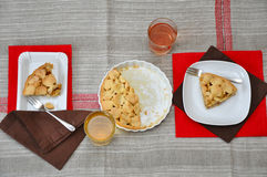 Table setting with apple cake Royalty Free Stock Photos
