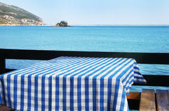 Table setting at beach restaurant. Portugal Stock Images