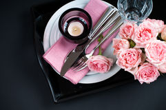 Table setting on black background Royalty Free Stock Photography