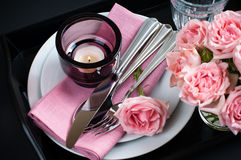 Table setting on black background Stock Photo