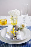 Table setting with blue checkered tablecloth, white napkin and y Stock Images