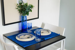 Table setting with blue theme Stock Images