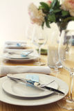 Table setting with blurred background for text Royalty Free Stock Images