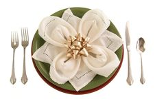 Table Setting With Bow Royalty Free Stock Photography