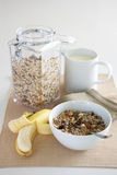 A table setting of breakfast foods Royalty Free Stock Photos