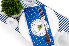 Table setting for breakfast in navy blue tones Royalty Free Stock Image