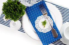 Table setting for breakfast in navy blue tones Royalty Free Stock Photos