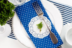 Table setting for breakfast in navy blue tones Stock Photo