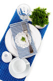 Table setting for breakfast in navy blue tones Royalty Free Stock Images