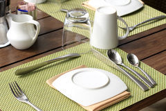 Table setting for breakfast Royalty Free Stock Photos