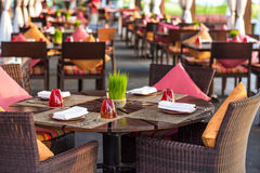 Table setting at casual outdoor restaurant Royalty Free Stock Image