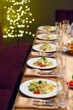 Table setting for  celebratory dinner. Stock Image