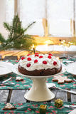 Table setting with chocolate cake Royalty Free Stock Images