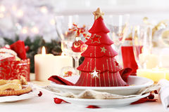 Table setting for Christmas Stock Photos